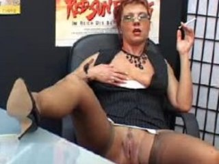 hot older secretary smokes and fingers vagina