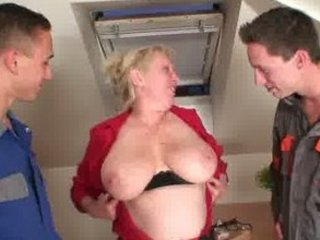 repairmen bang breasty grandma from one as well