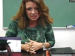 breasty milf teacher masturbates in sexy darksome
