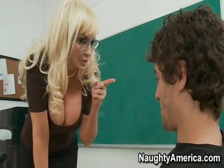 this busty blonde milf of a teacher needs trio