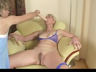 blond older testing sex tool and real ramrod by