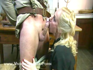 soldier unloads his package on a hawt babe