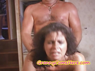 two grannies acquire screwed and cum covered on