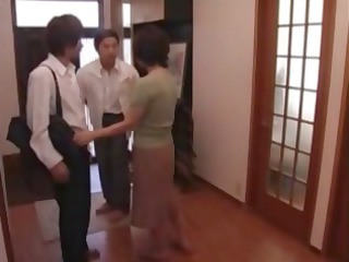 mature japanese mom sucks his jock and acquires