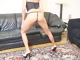 sexily exercising by squatting as part of teasing