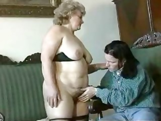 fat, golden-haired granny acquires licked, blows,