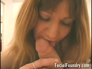 older aged takes a facial between eyes