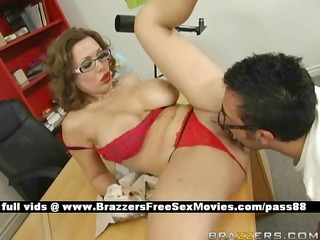 hot redhead teacher on the desk acquires her fur