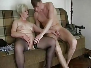 fat blond granny seduces a y...