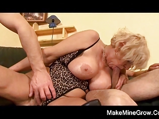 hot grandma play with her toy and a juvenile cock
