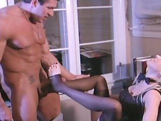 breasty golden-haired secretary fucking in nylons