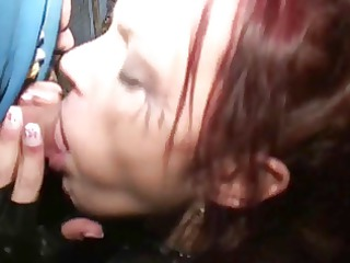 brunette hair in nylons sucks leather dude&s