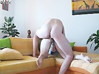 my sexy wife on the ottoman