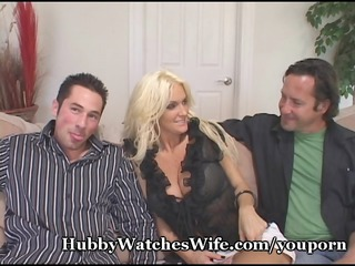 cougar wife fucks young stud as hubby watches