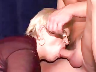 granny acquires double penetrated with facial