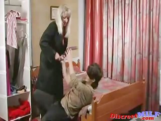 older russian cougar drilled by fake penis and