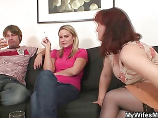 wife watches as he is bonks her old mamma