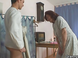 sewing granny jumps on his cock