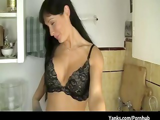 busty dark brown mother i cooks up threesome solo