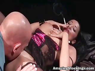 smocking mother i in sexy underware and nylons