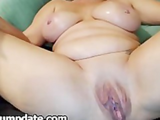 large breasted mature plays with her large pussy