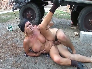 slutty granny gets her juicy shaved pussy drilled