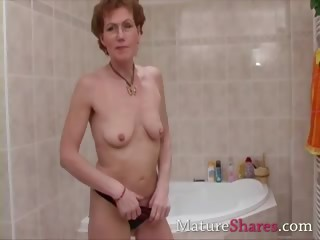 hairy aged pees and takes a shower