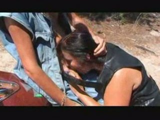 french biker share his wife in forest