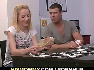 strip poker with his gf and mama leads to