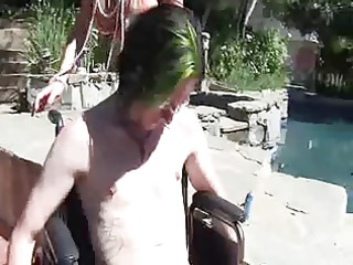 hawt mommy gives femdom cook jerking to disabled