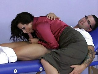 milf wearing satin gives a tugjob