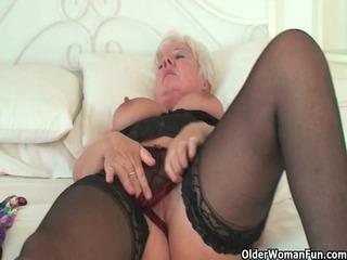 curvy granny in black stockings rubs her old love