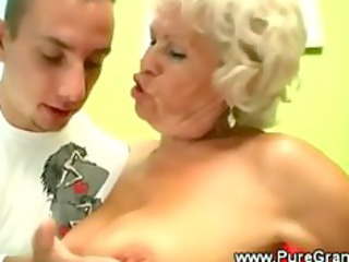 perverted granny blows younger rod