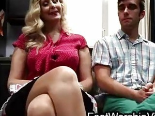 boy bonks and licks feet on milf