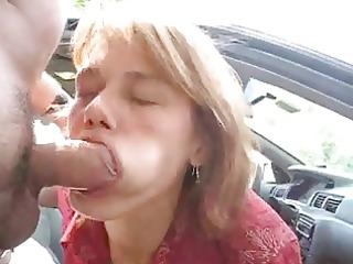 non-professional milf blow job outside eats cum