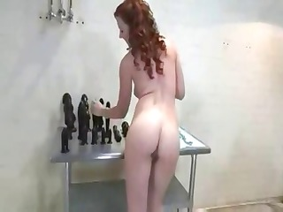 nasty aged redhead stuffs and stretches her taut