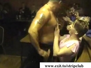 drunk wives attacking weenies in stripper bar
