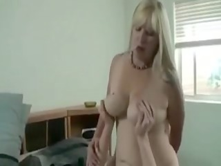 busty blond mamma copulates stepson