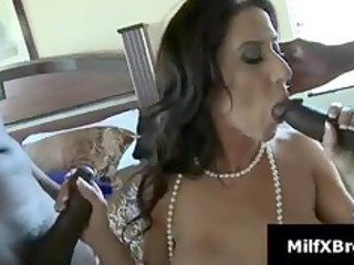 breasty dark brown mommy gives blowjob in