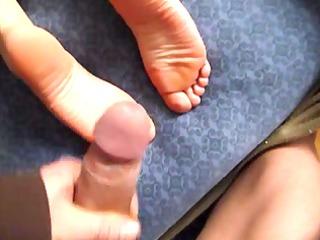 wife cum on feet soles