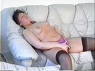 fat woman plays with her love tunnel