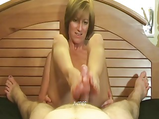 mature footjob molly - cum on her soles