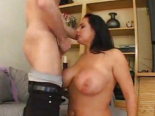 large titted milf takes a inflexible one in her