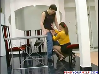 aged russian mom catches guy jerking off and