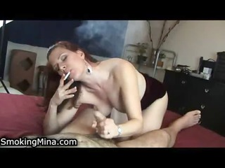 hot lady can to engulf wang while smokin a