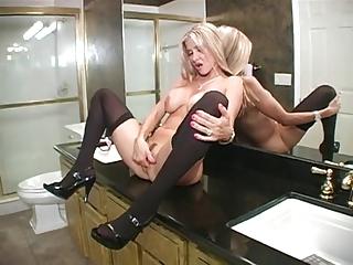 sexy wife blows in washroom