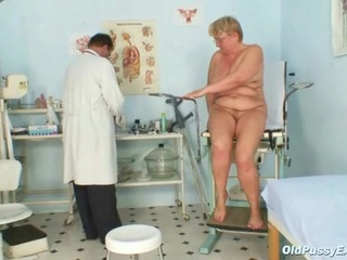 bulky aged radka receives real speculum exam by