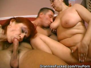 sexually excited grandmas take on a man