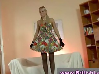 older british lady dresses blonde in stockings