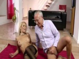 aged golden-haired whore sucks down on old man